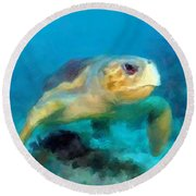 Round Beach Towel featuring the mixed media Curious Sea Turtle by David  Van Hulst