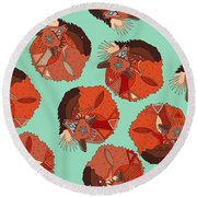 Curled Fox Polka Mint Round Beach Towel by Sharon Turner