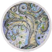 Round Beach Towel featuring the painting Curly Tree In Fantasy Land by Eloise Schneider