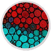 Currents - Red Aqua Art By Sharon Cummings Round Beach Towel