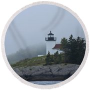 Curtis Island Lighthouse Round Beach Towel by Daniel Hebard