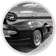 Curvalicious Viper In Black And White Round Beach Towel by Gill Billington