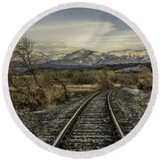 Curve In The Tracks Round Beach Towel