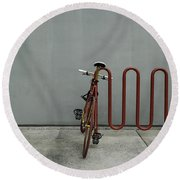Curved Rack In Red - Urban Parking Stalls Round Beach Towel by Steven Milner