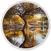 Curved Reflection Round Beach Towel by Kerri Mortenson