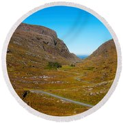 Curved Road On A Hill, Gap Of Dunlop Round Beach Towel