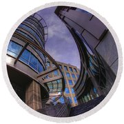 Round Beach Towel featuring the photograph Reflections And Curves by Dennis Baswell