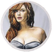 Curvy Beauties - Christina Hendricks Round Beach Towel