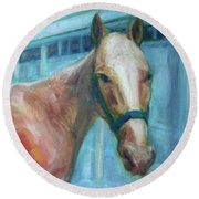 Custom Pet Portrait Painting - Original Artwork -  Horse - Dog - Cat - Bird Round Beach Towel