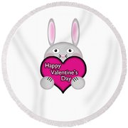 Cute Bunny With Pink Valentines Day Heart Wishes Round Beach Towel
