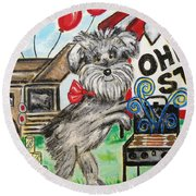 Round Beach Towel featuring the painting Osu Tailgating Dog by Diane Pape
