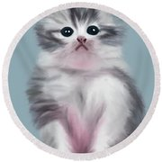 Cute Kitten Round Beach Towel