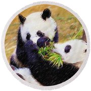 Round Beach Towel featuring the painting Cute Pandas Play Together by Lanjee Chee
