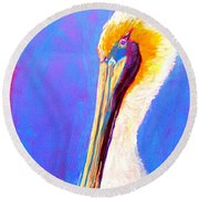 Cute Pelican Round Beach Towel