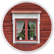Cute Window On Red Wall Round Beach Towel