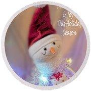 Cutest Snowman Christmas Card Round Beach Towel