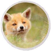 Cutie Face _red Fox Kit Round Beach Towel