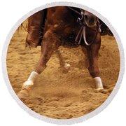 Cutting Horse 6 Round Beach Towel