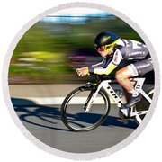 Round Beach Towel featuring the photograph Cycling Prologue by Kevin Desrosiers