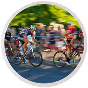Round Beach Towel featuring the photograph Cycling Pursuit by Kevin Desrosiers