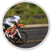 Round Beach Towel featuring the photograph Cycling Time Trial by Kevin Desrosiers