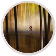 Cyclist In The Forest Round Beach Towel