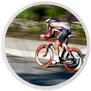 Round Beach Towel featuring the photograph Cyclist Racing The Clock by Kevin Desrosiers