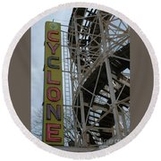 Cyclone - Roller Coaster Round Beach Towel