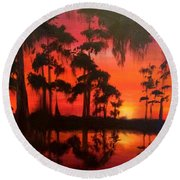 Cypress Swamp At Sunset Round Beach Towel