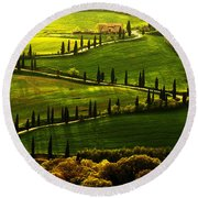 Cypresses Alley Round Beach Towel