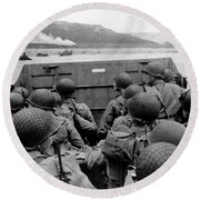 D-day Soldiers In A Higgins Boat  Round Beach Towel