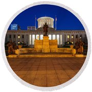 D13l112 Ohio Statehouse Photo Round Beach Towel