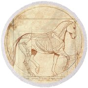 da Vinci Horse in Piaffe Round Beach Towel by Catherine Twomey