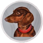 Dachshund Watercolor Painting Round Beach Towel