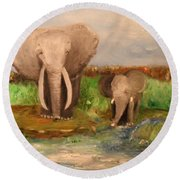 Round Beach Towel featuring the painting Daddy's Boy by Laurie L