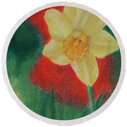Daffodil And Poppies Round Beach Towel by Marna Edwards Flavell