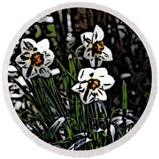 Round Beach Towel featuring the digital art Daffodil by David Lane