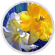 Daffodils 1 Round Beach Towel by Pamela Cooper
