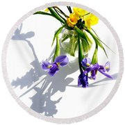 Daffodils And Iris Round Beach Towel by Tracy Male