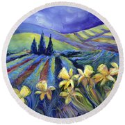 Daffodils And Stormclouds Round Beach Towel