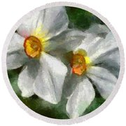 Round Beach Towel featuring the painting Daffodils by Dragica  Micki Fortuna
