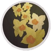 Round Beach Towel featuring the digital art Daffodils by Terry Frederick