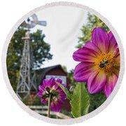 Dahlia Bee And Windmill Round Beach Towel