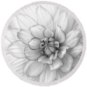 Dahlia Flower Black And White Round Beach Towel by Kim Hojnacki