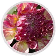 Dahlia V Round Beach Towel by Christiane Hellner-OBrien