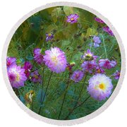 Round Beach Towel featuring the photograph Dahlias And Cosmos  by Judy Via-Wolff