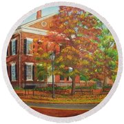 Dahlonega's Gold Museum In Autumn Round Beach Towel