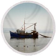 Round Beach Towel featuring the photograph Daily Catch by Lynn Bolt