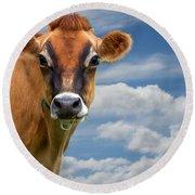 Dairy Cow  Bessy Round Beach Towel