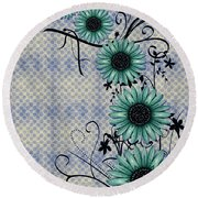 Daisies Design - S01-29c Round Beach Towel by Variance Collections